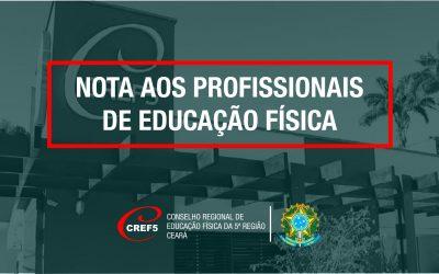 NOTA AOS PROFISSIONAIS DE EDUCAÇÃO FÍSICA SOBRE O RETORNO DAS ATIVIDADES FÍSICAS