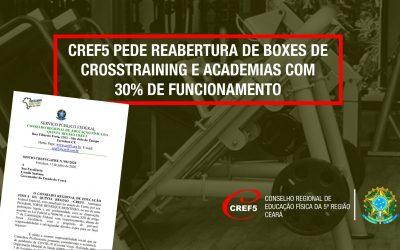 CREF5 PEDE REABERTURA DE BOXES DE CROSSTRAINING E ACADEMIAS COM 30% DE FUNCIONAMENTO