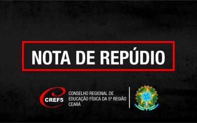 O CREF5 REPUDIA E NÃO COMPACTUA COM NENHUM ATO DE VIOLÊNCIA