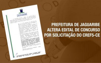 PREFEITURA DE JAGUARIBE ALTERA EDITAL POR SOLICITAÇÃO DO CREF5-CE
